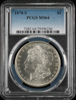 1878-S $1 Morgan Silver Dollar (PCGS MS64) at PristineAuction.com