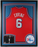 Julius Erving Signed 34x42 Custom Framed Jersey Display (JSA Hologram) at PristineAuction.com