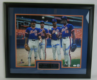 1986 Mets Rotation 23x27 Custom Framed Photo Display Signed by (4) with Dwight Gooden, Bob Ojeda, Ron Darling & Sid Fernandez with (4) Record Inscriptions (JSA COA) at PristineAuction.com