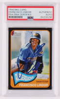 Francisco Lindor Signed 2014 Topps Heritage Minors Black #40 (PSA Encapsulated) at PristineAuction.com
