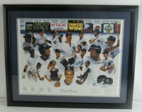 1998 Yankees 24x30 Custom Framed Print Display Signed by (7) with Derek Jeter, Jorge Posada, Andy Pettitte, Paul O'Neill, Tino Martinez (JSA LOA) at PristineAuction.com