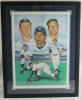Mickey Mantle, Billy Martin & Whitey Ford Signed LE Yankees 25x30 Custom Framed Lithograph (JSA LOA) at PristineAuction.com