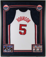 David Robinson Signed 34x42 Custom Framed Jersey Display (JSA COA) at PristineAuction.com