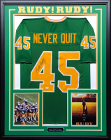 "Daniel ""Rudy"" Ruettiger Signed 34.5x42.5 Custom Framed Jersey (JSA COA) at PristineAuction.com"