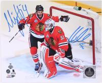 Corey Crawford & Niklas Hjamarsson Signed Blackhawks 8x10 Photo (SideLine Hologram) at PristineAuction.com