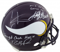 "Randy Moss, Cris Carter, & Adrian Peterson Signed Vikings Full-Size Authentic On-Field Helmet Inscribed ""All Day"", ""Straight Cash Homie"" & ""All I Do Is Catch TDs"" (Beckett COA) at PristineAuction.com"