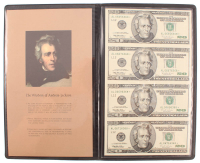 World Reserve Monetary Exchange Bankers Portfolio of (1) Uncut Sheet of (4) 1996 $20 Twenty Dollar Federal Reserve Notes at PristineAuction.com