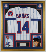 "Ernie Banks Signed 32x36 Custom Framed Cut Display with (2) Vintage Cubs Patches Inscribed ""Chi-Cubs 1975"" (PSA Authentic) at PristineAuction.com"