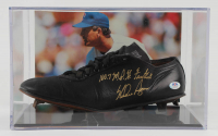 "Nolan Ryan Signed Baseball Cleat With Photo Display Case Inscribed ""100.7 M.P.H. Fastball"" (PSA COA) at PristineAuction.com"
