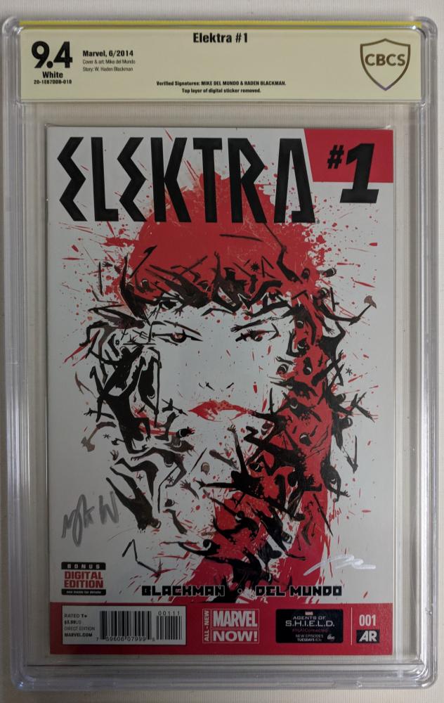 "Mike Del Mundo & Haden Blackman Signed 2014 ""Elektra"" Issue #1 Marvel Comic Book (CBCS 9.4) at PristineAuction.com"