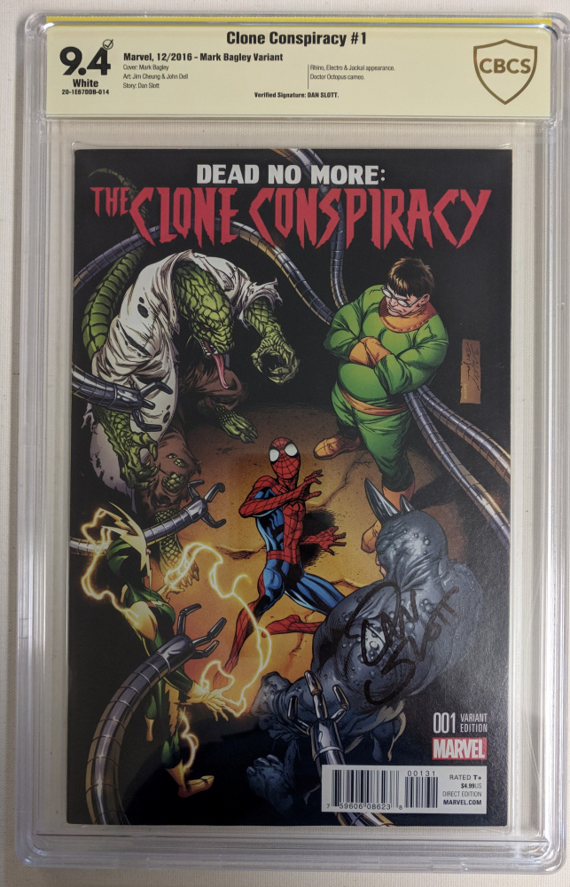 """Dan Slott Signed 2016 """"Clone Conspiracy"""" Issue #1 Mark Bagley Variant Marvel Comic Book (CBCS 9.4) at PristineAuction.com"""