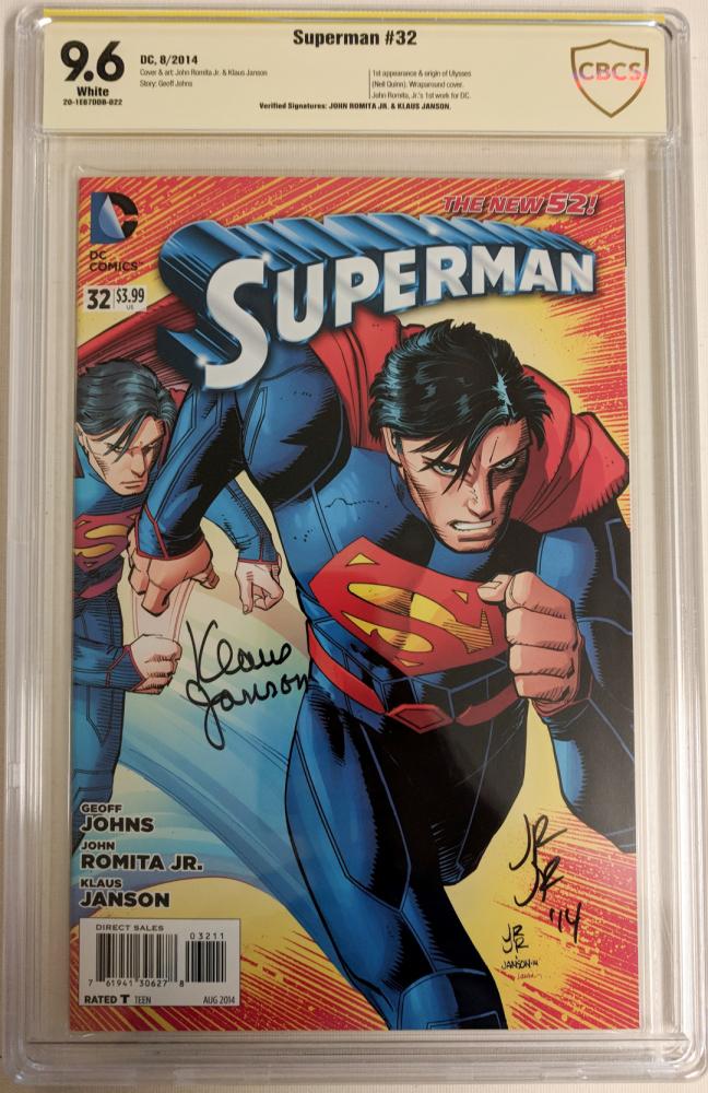 "John Romita Jr. & Klaus Janson Signed 2014 ""Superman"" Issue #32 DC Comic Book (CBCS 9.6) at PristineAuction.com"
