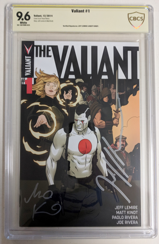 "Jeff Lemire & Matt Kindt Signed 2014 ""The Valiant"" Issue #1 Valiant Comic Book (CBCS 9.6) at PristineAuction.com"