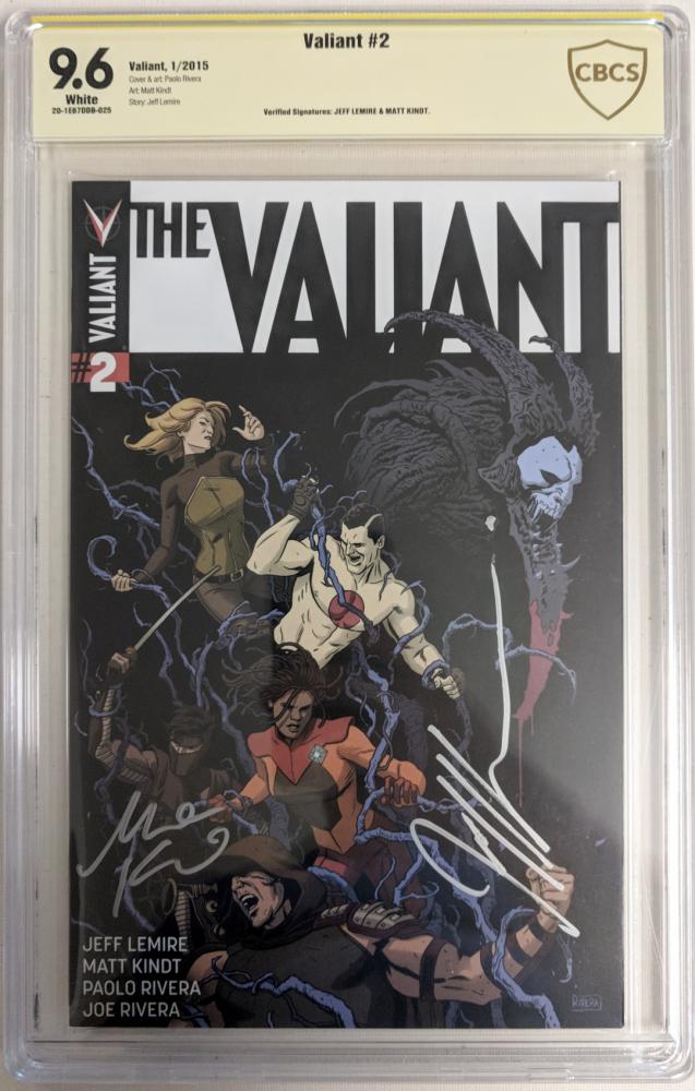 "Jeff Lemire & Matt Kindt Signed 2015 ""The Valiant"" Issue #2 Valiant Comic Book (CBCS 9.6) at PristineAuction.com"
