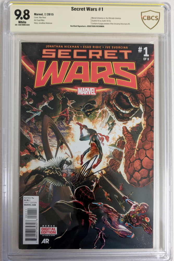 """Jonathan Hickman Signed 2015 """"Secret Wars"""" Issue #1 Marvel Comic Book (CBCS 9.8) at PristineAuction.com"""