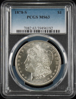 1878-S $1 Morgan Silver Dollar (PCGS MS63) at PristineAuction.com