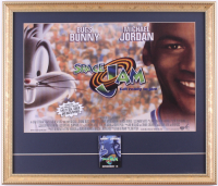"Michael Jordan ""Space Jam"" 18x21 Custom Framed Photo Display with Pre Movie Release Pin at PristineAuction.com"