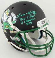 "Lou Holtz Signed Notre Dame Fighting Irish Full-Size Matte Black Helmet Inscribed ""Play Like A Champion Today"" (Steiner COA) at PristineAuction.com"