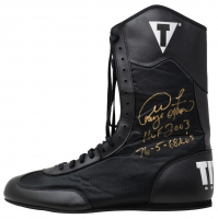 "George Foreman Signed Title Boxing Shoe Inscribed ""HOF 2003"", ""76-5"", & ""68 KO's"" (JSA COA) at PristineAuction.com"