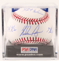 "Nolan Ryan Signed OML Baseball Inscribed ""H.O.F. 99"", ""7 No-Hitters"", ""5,714 K's"", & ""324 Wins"" with Display Case (PSA COA - Graded 10) at PristineAuction.com"