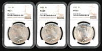 Lot of (3) 1922-23 $1 Peace Silver Dollars (NGC MS 64) at PristineAuction.com