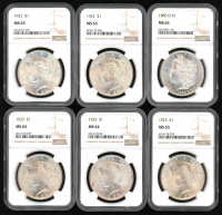 Lot of (6) 1885 - 1923 $1 Morgan Silver Dollars (NGC MS 63-65) at PristineAuction.com