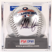 Nolan Ryan Signed Astros 2017 World Series Champions Metallic OML Baseball with Display Case (PSA COA - Graded 10) at PristineAuction.com