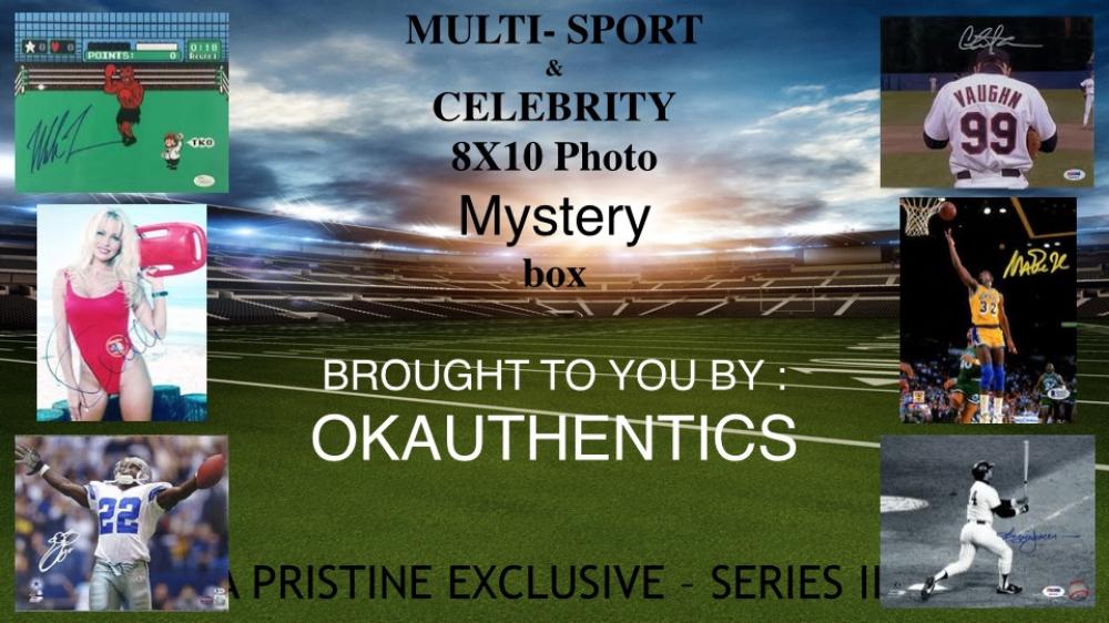 OKAUTHENTICS Multi-sport & Celebrity 8x10 Photo Mystery Box Series III at PristineAuction.com