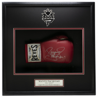 """Manny Pacquiao Signed 18x19x4 Custom Framed Boxing Glove Shadowbox Display Inscribed """"Pacman"""" (Beckett COA) at PristineAuction.com"""