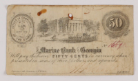 1862 50¢ Fifty Cents - Marine Bank of Georgia Bank Note at PristineAuction.com