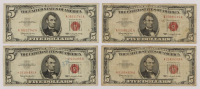 Lot of (4) 1963 $5 Five-Dollar Red Seal U.S. Legal Tender Notes at PristineAuction.com