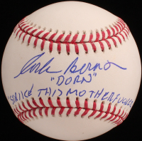 "Corbin Bernsen Signed OML Baseball Inscribed ""Dorn"" & ""Strike This M*********** Out!!"" (Beckett COA) at PristineAuction.com"