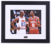 Kobe Bryant & Michael Jordan 13x15 Custom Framed Photo Display with All-Star Game Pin at PristineAuction.com