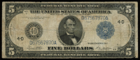 1914 $5 Five-Dollar Blue Seal U.S. Large-Size Federal Reserve Note at PristineAuction.com