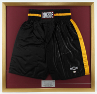 Mike Tyson Signed 29x30 Custom Framed Boxing Shorts Display (PSA COA) at PristineAuction.com