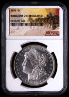 1896 Morgan Silver Dollar - Stage Coach Label (NGC Brilliant Uncirculated) at PristineAuction.com