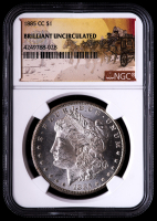 1885-CC Morgan Silver Dollar - Stage Coach Label (NGC Brilliant Uncirculated) at PristineAuction.com