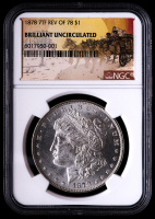 1878 7TF Rev of 78 Morgan Silver Dollar - Stage Coach Label (NGC Brilliant Uncirculated) at PristineAuction.com