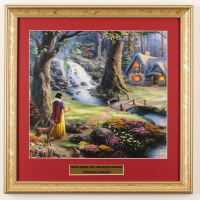 "Thomas Kinkade Walt Disney's ""Snow White and the Seven Dwarfs"" 16x16 Custom Framed Print Display at PristineAuction.com"
