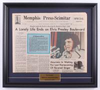 Elvis Presley 17x18 Custom Framed Memphis Press-Scimitar Newspaper Page Display at PristineAuction.com