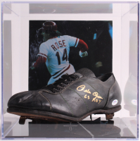 """Pete Rose Signed Steel Plate Baseball Cleat with Display Case Inscribed """"63 ROY"""" (PSA COA) at PristineAuction.com"""