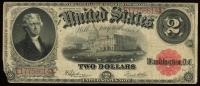 1917 $2 Two Dollars Legal Tender Red Seal Large Size Bank Note Bill at PristineAuction.com