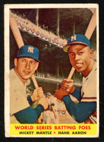 1958 Topps #418 World Series Batting Foes Mickey Mantle / Hank Aaron at PristineAuction.com