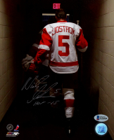 """Nicklas Lidstrom Signed Red Wings 8x10 Photo Inscribed """"HOF 15"""" (Beckett COA) at PristineAuction.com"""