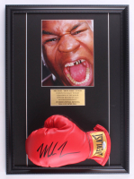 Mike Tyson Signed 16x22 Custom Framed Everlast Boxing Glove Display (PSA COA) at PristineAuction.com