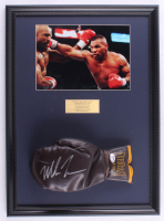 Mike Tyson Signed 16x22 Custom Framed Vintage Everlast Leather Boxing Glove Display (PSA COA) at PristineAuction.com