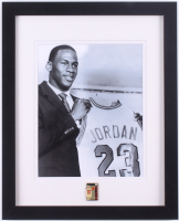 Michael Jordan 12x15 Custom Framed Photo Display with Vintage Bulls Jersey Pin at PristineAuction.com