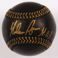 "Nolan Ryan Signed OML Black Leather Baseball Inscribed ""H.O.F. 99"" (PSA COA - Graded 10) at PristineAuction.com"