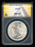 1924 $1 Peace Silver Dollar (ANACS MS63) at PristineAuction.com