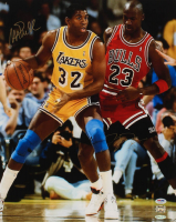 Michael Jordan & Magic Johnson Signed Lakers 16x20 Photo (UDA COA, PSA COA & Johnson Hologram) at PristineAuction.com